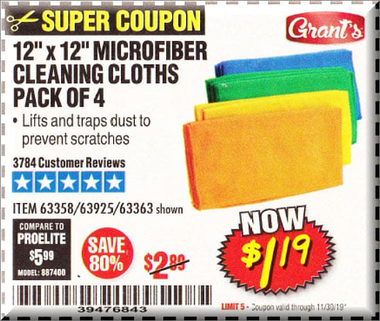 Harbor Freight Free Microfiber Cleaning Cloth Coupon With Purchase