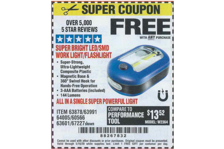 Harbor Freight Free Flashlight Coupon Ultra Bright Led Worklight Dealiome